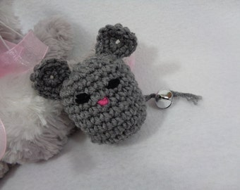 Cat Toy, Kitty Cat Jingle Bell Mouse, Stocking Stuffer for Your Cat, Gray Mouse for Your Cat, Gift for Pet by Crocheted by Charlene, Under 5