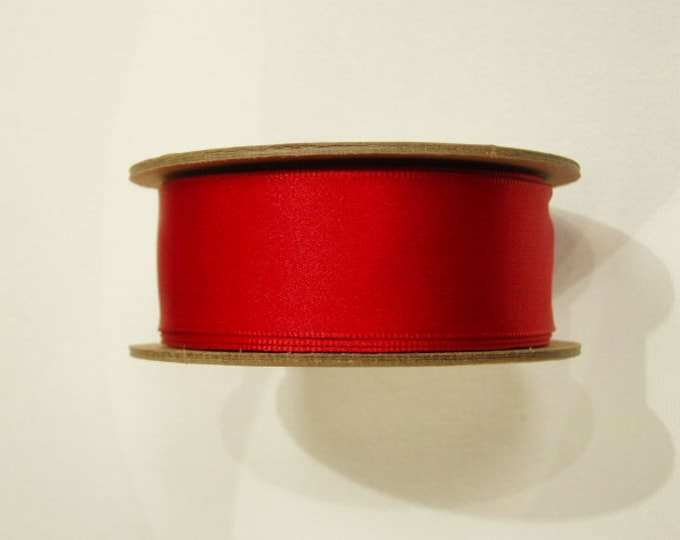 """Red Satin Wired Ribbon, 1-1/2"""" width (38 mm) woven edge JUMBO 20 YARD roll, Made in England"""