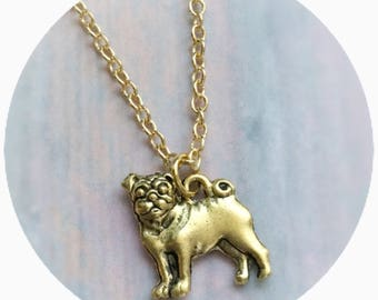 Pug Necklace, Dog charm