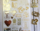 Clear Planner Stickers - Scrapbook Stickers - Gold Foil Stickers