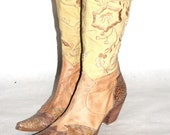 Cooler Than Thou Tan Leather, Faux Crocodile, & Embroidered Canvas Cowboy Boots- Size 40 EU/8.5/9 US