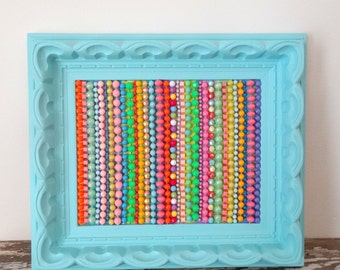 Striped Wall Art - Beaded Wall Hanging - Turquoise Frame - Plastic, kitsch, retro 3d Picture - Colorful, Rainbow Original Art - Bead Mosaic