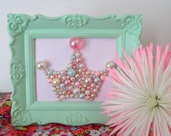 Princess Crown Wall Art.  Bead Mosaic.  Mint Green Ornate Frame.  Vintage pearls.  Girls nursery.  Pink and green.  Paris apartment.  3d Art