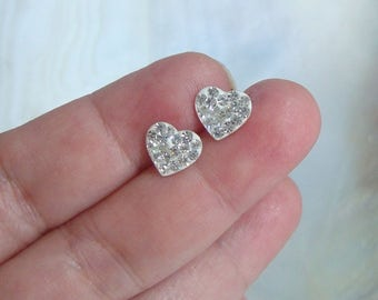 1 pair, Sterling Silver CZ lovely heart Ear stud, Ear Nuts included  - EP-0058