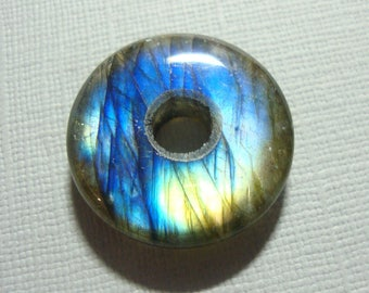 25mm, Labradorite, Gorgeous Firey Blue Gold Green Flashy Labradorite Smooth Donut PENDANT, D7