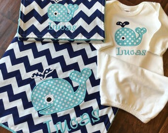 Whale Blanket- Personalized Baby Set- Whale Blanket Set- Minky Baby Blanket- Chevron Blanket-