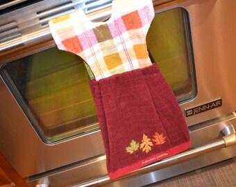 Dishtowel Dress. Hanging Towel Dress, Reversible,  Hangs on Stove. Teacher or Hostess Gift