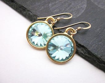 Aqua Blue Dangle Earrings -- Aqua Gold Earrings -- Aqua Crystal Earrings -- Round Light Blue Earrings -- Sea Blue Crystal Earrings