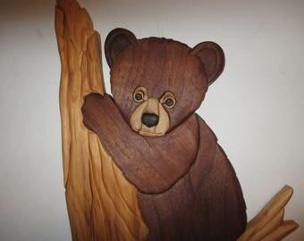 Bear in Tree, handmade, intarsia, wood art, wall hanging