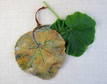 Ceramic Hollyhock Leaf Wall Hanging - Made with Real Leaf - Decorative Wall Art - Leaf Impression Pattern - Shades of Green & Gold - Nature