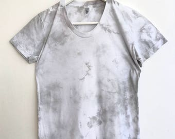 Womens Top Hand Dyed in Gray Crystal Shibori Pattern