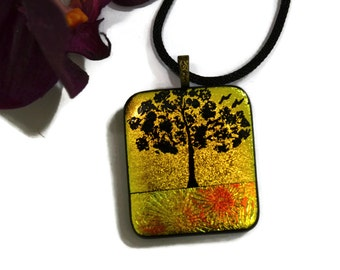 Tree of Life Necklace, Dichroic Glass, Fused Glass, Pendant, Statement Jewelry