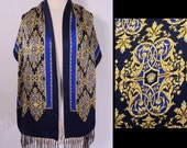 Designer Atelier Versace Italy Vibrant Gold Filigree Baroque Print Signed Scarf