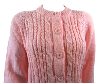 Vintage BubbleGum Pink Cable Knit Cardigan Sweater Size Large by English Village