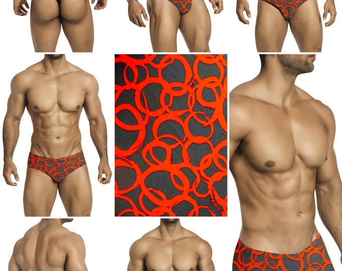 Red Loops on Gray Swimsuits for Men by Vuthy Sim.  Choose Thong, Bikini, Brief, Squarecut - 191