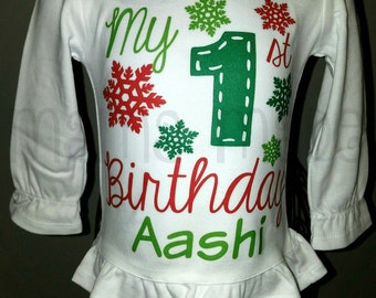 Girl's My 1st Birthday Shirt, My 1st Birthday Christmas Shirt, My first birthday snowflake shirt first birthday christmas shirt,1st birthday