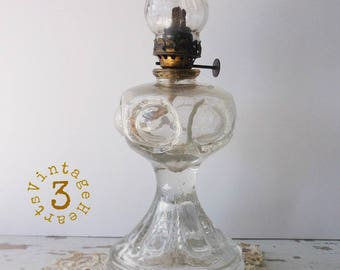 Antique BULLSEYE Miniature Oil Lamp. Victorian Courting Lamp. Pressed GLASS w/Acorn Burner & Chimney.
