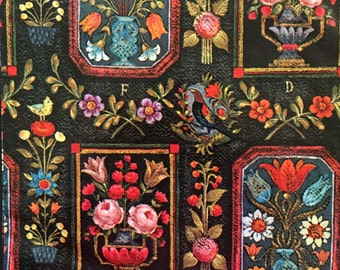 Vtg Gift Wrap - Black Floral - All Occasion - Marcel Schurman Switzerland - One Full Sheet
