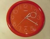 RESERVED For Shawn Vintage 1970's  Linden Orange Wall Clock