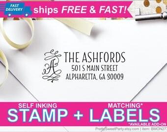 Personalized Address Stamp - Custom Return Address Stamp - Wedding Monogram Address BMON2770