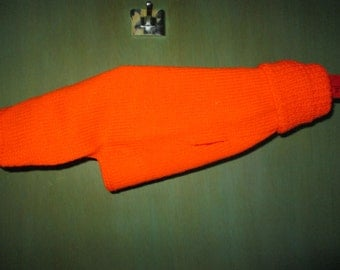 Orange or Burnt Red Small Dog Sweater Hand Knit by SuzannesStitches, Hand Knit Small Dog Sweaters, Small Dog Knit Sweaters, Acrylic Dog Coat