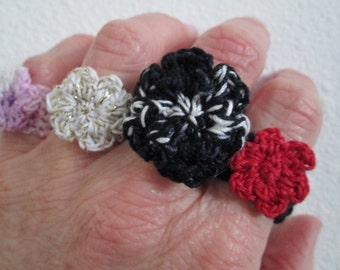 Free USA Shipping, Cotton Rings Crocheted by SuzannesStitches, Fiber Art Jewelry, Handmade Jewelry, Crochet Flower Ring, Cotton Crochet Ring