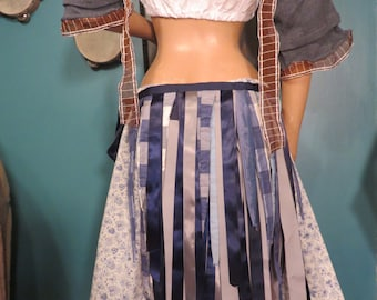 Blue silk and ribbon bustle, one size,  steampunk, victorian, bellydance