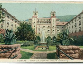Court Hotel Colorado Glenwood Springs CO 1910c Phostint postcard