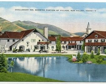 Challenger Inn Sun Valley Idaho 1949 linen postcard