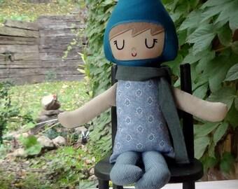 LuLu Gnome Doll // Handmade Doll // Garden Gnome // New Baby Gift // Blue Aqua Gnome Girl // Warm Sugar Doll // Girls Room Decor