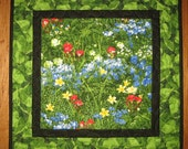 "Blue Red Yellow Wildflower Quilted Table Topper, Quilted, Pink Blue Green, 21 x 21"" 100% cotton fabrics"