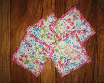 Shabby Chic Fabric Coasters. Pastel Flowers and Leaves, Reversible Drink Mats, 5x5""