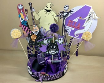 Nightmare Before Christmas Personalized Banner/ cake topper/ paper straws/ cupcake toppers/ center piece/ welcome sign/ and more.