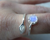 Rainbow Moonstone Sterling Silver Adjustable Leaf Ring