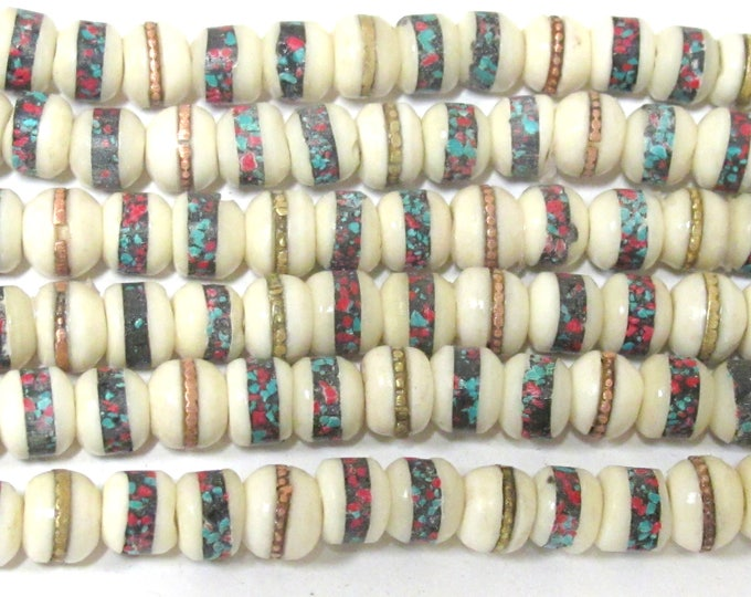 50 beads - 7 - 8 mm Tibetan ivory white color bone beads with turquoise brass copper coral inlay Nepal beads supply - ML083D