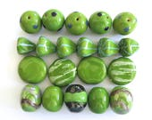 Kazuri Beads, 20 Large Kazuri Beads, Green Ceramic Beads, Kazuri African Beads