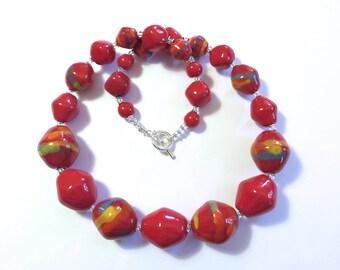 Red Kazuri Beaded Necklace, Fair Trade,  Ceramic Necklace