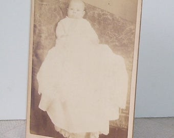 Antique Cabinet Card Baby In long Ruffled Dress, Silver Photo Studio, Ludington, Mi. Black and WHite Photo,  Vintage Cabinet Cards