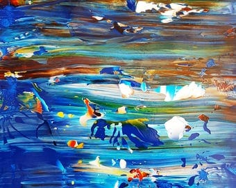 Blue River Abstract Acrylic Original Painting