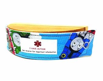 Fabric ID Bracelet Medical Alert Bracelet Safety ID for Kids Child Allergy Alert Thomas the Train