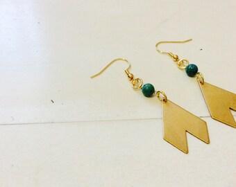 Brass & Turqouise Arrow Earrings