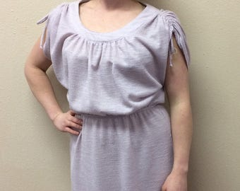 80s Pale Iced Purple Dress Retro Secretary Lilac 1980s S M