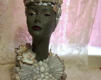 Mermaid Queen Seashell and Rhinestone Mannequin Bust