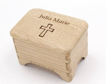 Oak Rosary Box, Keepsake Box, Baptism or First Communion Gift - Wood Box with Cross & Custom Name Engraving - Personalize it!