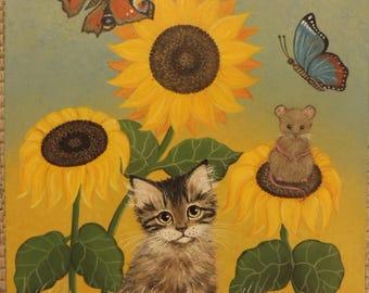 Naive Art Folk Original Painting Canvas Tabby Kitten Cat Mouse Butterfly