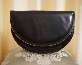 Vintage 60s Black and Gold Trim Leather Bag B Stamped Curved Edge Circular Clutch Handbag Purse Shoulder Crossbody Bag