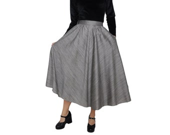 Grey Woven Raw Silk Textured Full Skirt With Pockets | L | Dirndl Pleated Bias Cut Circle Skirt