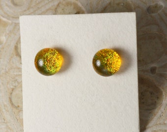 Dichroic Glass Earrings, Marigold DGE-910