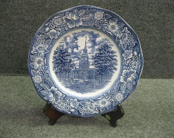 "10"" INDEPENDENCE HALL Plate Staffordshire Ironstone Historic Colonial Scene"