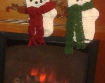 Snowman stockings, white stocking,  snowman, crocheted stocking, christmas stocking